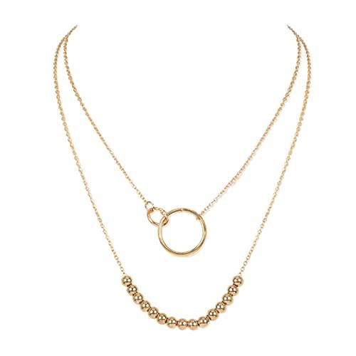 Sttiafay Boho Collana con ciondolo a cerchio in oro a strati Collana con filo di perline Collana a strati con catena Lariat per donne e ragazze
