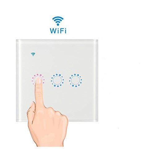 Interruttore Wifi con LED Touch Screen Casa Intelligente Interruttore Smart Supporto Controllo Remoto Tramite IOS Android App Google Home e WeLink Interruttore Luce da Parete (#3, Bianco)