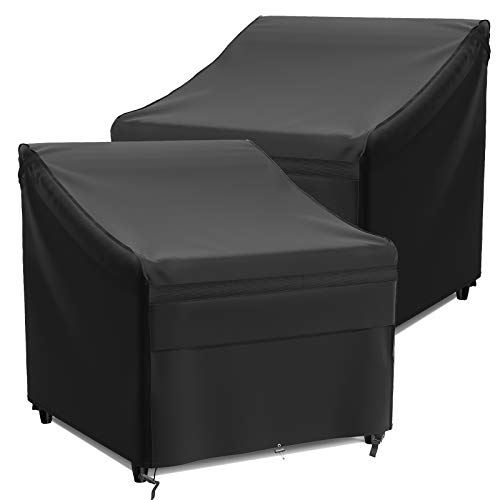 """MR COVER 34 Wide Large Patio Chair Cover Heavy Duty Waterproof Outdoor Furniture Cover RipStop and All Weather Resistant 34""""W x 39""""D x 36""""H 2 Pack"""