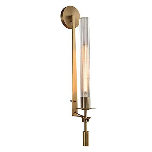 LHJCN Lámpara de Pared Industrial Americana Lámpara de Pared Antigua de 28 Pulgadas Aplique de iluminación con Pantalla de Tubo de Vidrio y zócalo E27 para Espejo de baño Fron