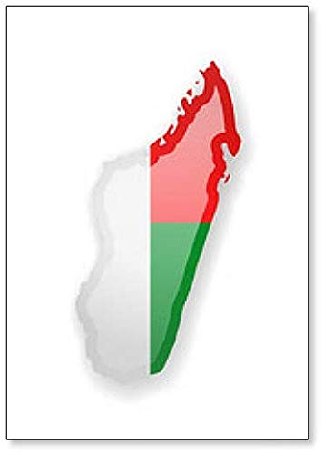 Kühlschrankmagnet Madagaskar Flagge & Umrisse des Landes, Magnet