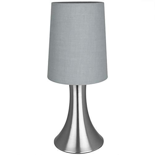 Tischlampe Touch dimmbar mit Modellauswahl Nachttischlampe Tischleuchte Schreibtischleuchte (Grau, 29cm)