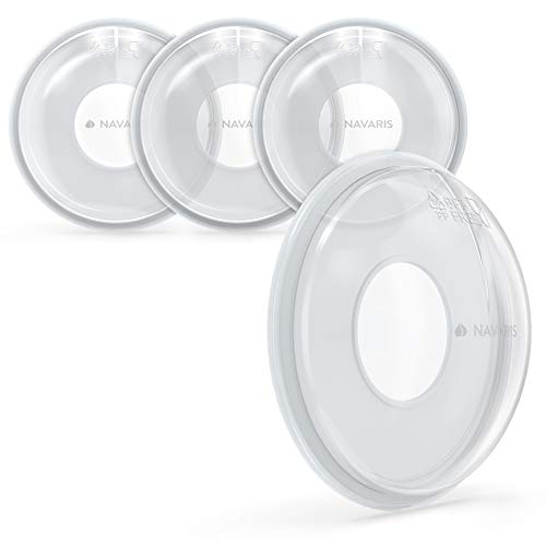 Navaris 4x Copa leche materna - Conchas recolectoras lactancia para biberones - Set de 4 copas protectoras cubre pezones - Sin BPA - Capacidad 20 ML