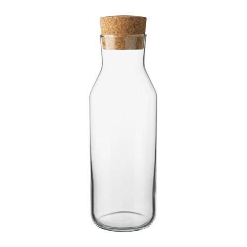 Ikea 365 (34 Oz) Clear Glass Carafe With Cork Stopper, Ideal For Hot and Cold Water Pitcher, Tea/Coffee Maker, Iced Tea, Beverage Pitcher As Well As for Serving Wine