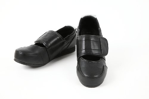 施設内 室外 介護シューズ うららか 合皮ワイドベルト U-6 サイズ20.5~27.0 高齢者 シルバー 靴 (20.5〜21.0(3S), 黒)
