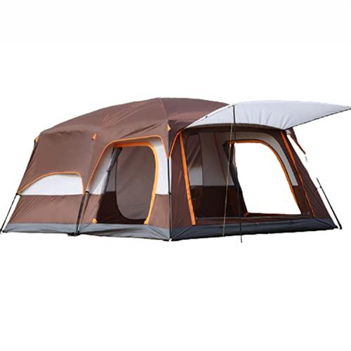 Carpa para Camping 3-4 5-7 8-10 Personas Carpa Grande de Doble Capa portátil para Acampar a Prueba de Lluvia Engrosada para Varias Personas,Brown,M