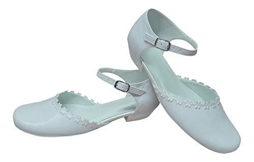 deine-Brautmode Kommunionschuhe zapatos comunión fiesta Kinderschuhe interior cuero Blümchen, color Blanco, talla 32 EU