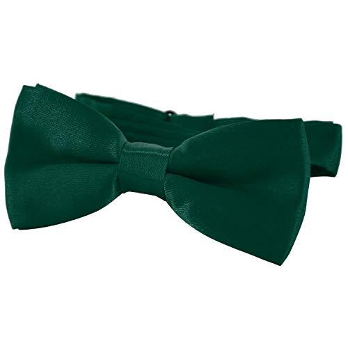 DonDon® Edle Kinder Fliege gebunden und längenverstellbar 9 x 4,5 cm dunkelgrün glänzend in Seiden Look