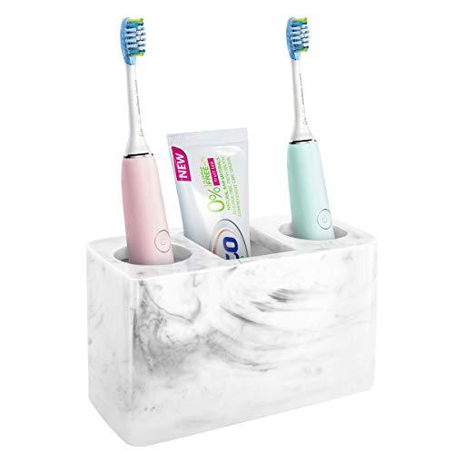 Luxspire Zahnbürstenhalter, 3 Fächer Harz Elektro Zahnbürsten Halter Zahnpastaständer Organizer Halter für Elektrische Zahnbürsten, Zahnpasta, Stifte - Tinte weiß