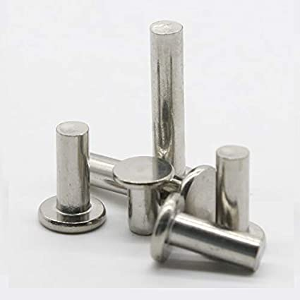 Ochoos 5pcs M6 flat rivet solid aluminum rivets hand tapping 8mm~25mm length Stem Length: M6x16mm