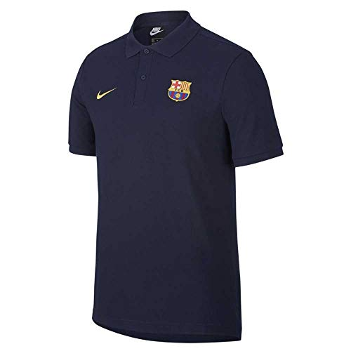 NIKE FC Barcelona Temporada 2020/21-FCB M NSW PQ CRECI9530-475 Polo, Unisex, Dark Obsidian/Amarillo no Sponsor