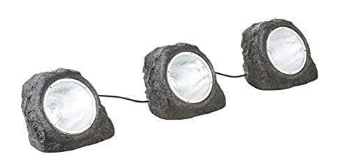Gartenleuchte Steinoptik mit Strom - Gartenbeleuchtung LED mit Kabel - Stein Deko Garten mit Licht - Gartenlampe Außen 3 Steine - Leuchtsteine Außenlampe