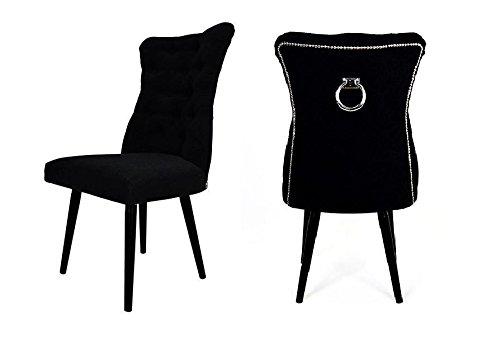 Belle Fierté Un par de sillas de Comedor con Tachuelas de Terciopelo con Anillo Trasero, Color Negro