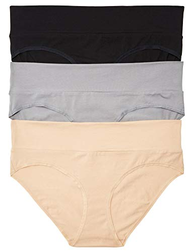Motherhood Maternity Women's 3 Pack Fold Over Brief Panties black, nude, flat grey/multi pack Small