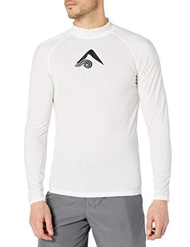 Kanu Surf Men's Long Sleeve Platinum UPF 50+ Rashguard, White, Medium