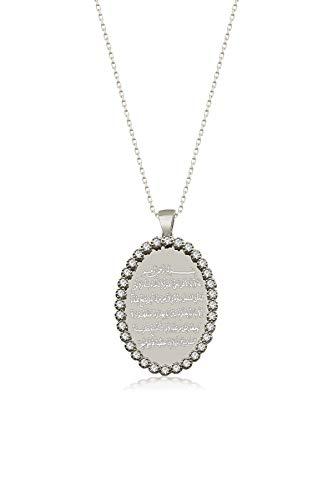 Remi Bijou 925 Sterling Silber Halskette mit Gravurplatte Oval Ayetel Kursi Gebet für Muslimen Allah Islam (Silber)