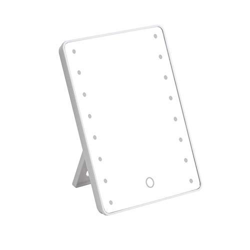 RUIXI Espejo de tocador iluminado con 16 luces LED, espejo de tocador iluminado con 1 paño de limpieza e interruptor de atenuación, funciona con pilas, color blanco