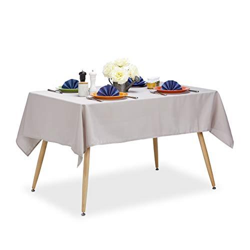 Relaxdays 10022620_793 Nappe Hydrofuge résistante Eau Linge de Table Jardin Polyester sans Plis 140x180 Rectangle, Taupe, taille unique
