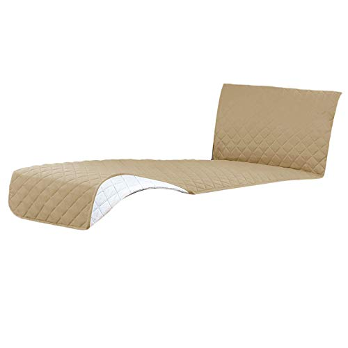 LOVIVER Sofa Slipcover Sectional Couch Cover Chaise Lounge Slip Cover Furniture Protector Cover - Khaki