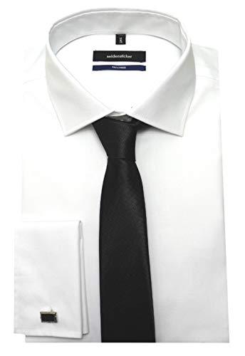 Seidensticker Manschettenhemd weiß mit Krawatte u. Man.knöpfe L 41