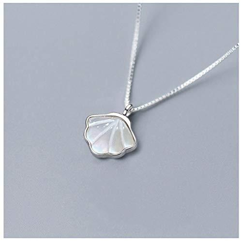 zlw-shop Collar de Mujer Collar Damas Concha de Plata, Simple diseño de la joyería, Regalo Pendiente de Concha Blanca, cumpleaños Regalo de la Muchacha, señora Exquisita joyería Collares Pendientes