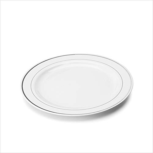 20x Speiseteller weiß mit Silberrand 23cm wiederverwendbar - stabile Mehrwegteller aus Plastik Robustes Kunststoffgeschirr in Porzellan Optik mehrfach nutzbar