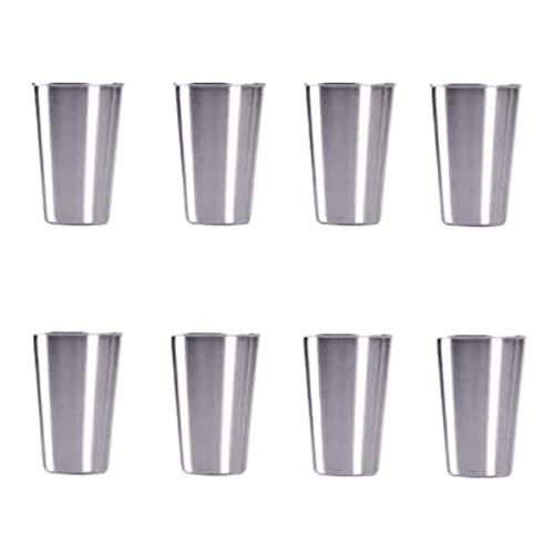 Lot de 8 gobelets en acier inoxydable de 500 ml, réutilisables en métal, sans BPA, (argent, 500 ml)