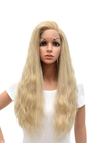 SWACC Long Straight Wavy Mixed Blonde Lace Front Wigs for Women Side Part Natural Heat Resistant Synthetic Hair Replacement Wig