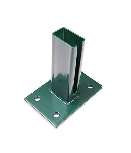 Vloerplaat, groen RAL 6005/antraciet RAL 7016, 125x125mm voor 60x40 mm palen dubbelstaafmatten hek grün - RAL 6005