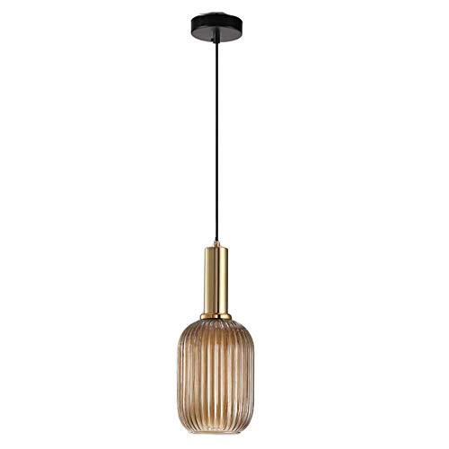 MZStech Modern ljuskrona ljus, guld koppar hängande ljusuttag med bärnstensglas hängande lampskärm, LED-hängande lampa