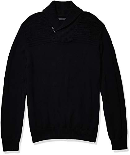 Sean John Men's Motto Rib Shawl Neck Sweater, Jet Black, S