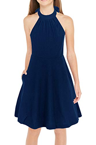 GORLYA Girl's Halter Neck Cold Shoulder Sleeveless Summer Casual Sundress A-line Dress with Pockets for 4-12 Years (GOR1013, 13-14Y, Navy)