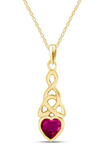 AFFY Trinity Heart Celtic Knot Pendant Necklace Simulated Ruby 14K Yellow Gold Over Sterling Silver