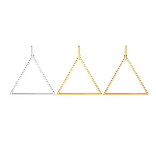 Daesar 3Pares Triangulo Hueco Pendientes Mujer Hombre Acero Inoxidable Oro y Oro Rosa Plata