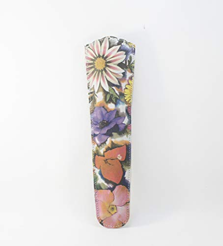 Funda de abanico de pielflores Abaniquera. Protector de abanicos cuero. Porta abanico flores en cuero.