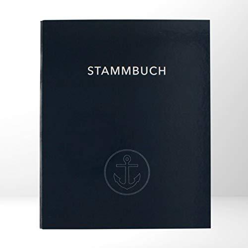 Maritimes Stammbuch im zukunftsfähigen A4-Format | Für eure Eheurkunde, Geburtsurkunden und weitere wichtige Urkunden & Dokumente | Dunkelblau mit Anker-Motiv