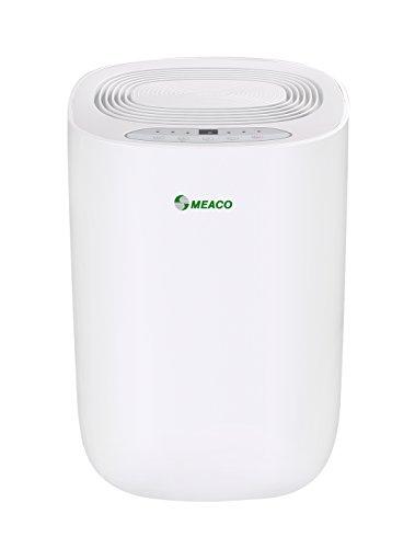 Meaco MeacoDry ABC 12LG - Deshumidificador ultrasilencioso, 35 dB, función secadora, diseño compacto, bajo consumo de energía, 165 W, 240 V, Blanco con panel verde
