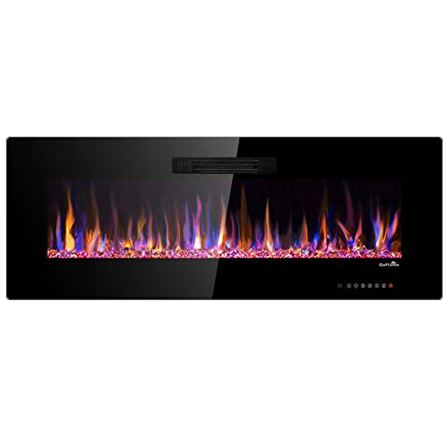BestComfort 50inch Recessed Electric Fireplace Insert Wall Mounted Fireplace Multicolor Flames Fireplace Freestanding with Remote Control 750W-1500W