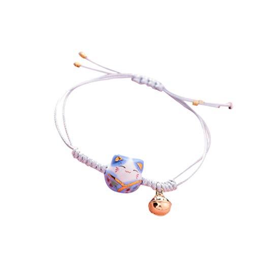 Generic Glücks-Katzen-Armband aus Keramik, geflochtenes rotes Seil, handgestrickt, Kätzchen, Handschnur, für Frauen, Mädchen, Paare, Geschenk, M, Zink, Legierung,