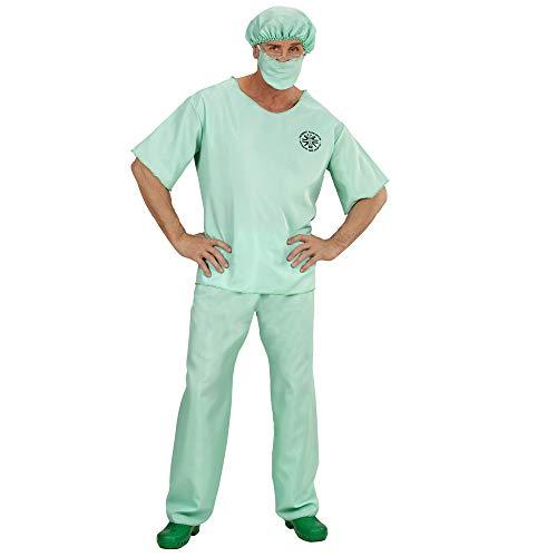 Widmann 00464 - Erwachsenenkostüm Notarzt, Oberteil, Hose, Haube und Mundschutz, grün