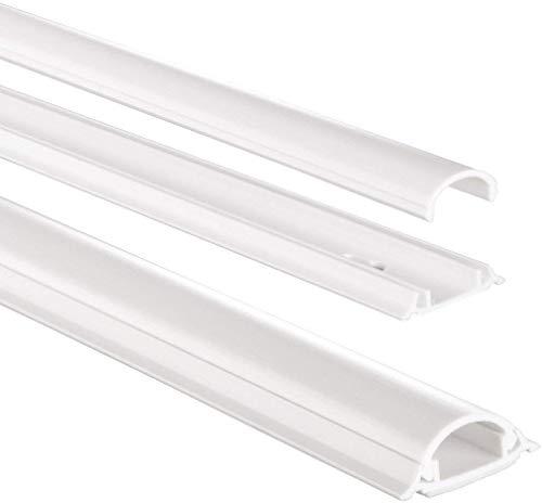 Hama Selbstklebender Kabelkanal weiß (Kunstoffleiste 1 Meter Länge, für 2 Kabel, halbrunde PVC Kabelabdeckung)