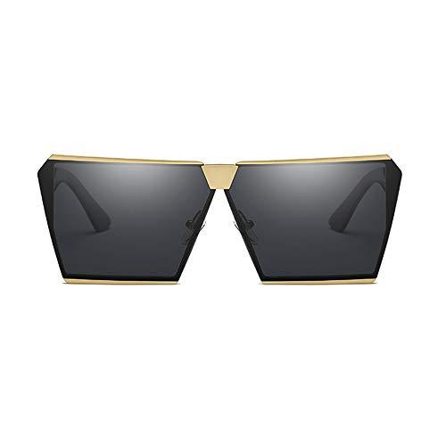 Yangmanini Gafas De Sol Polarizadas De Moda Gafas De Montura Cuadrada De Oro, Protección Unisex UV400 (Color : Gray)