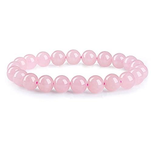 Bracelet Quartz Rose Bracelet Perles Bracelet Pierre Naturelle Bracelet Perles 8mm Bracelet Élastique Bracelet Femme Bracelet Extensible Semi Précieuse Cadeau Noel