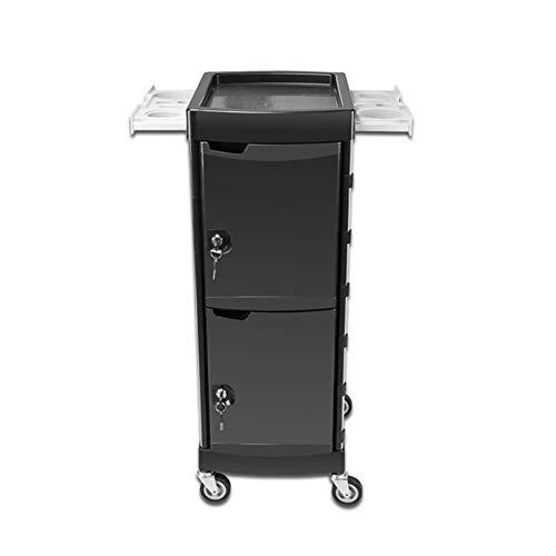 Salon Trolley Mobiel Kapsel Kast Multi-Layer met Lock Tool Cart met Roller Zwart