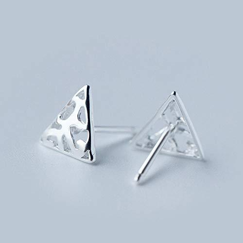 Pendientes de tuerca de plata de ley 925 con triángulo hueco, para mujeres, cumpleaños, hombres