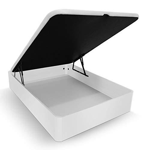 Duérmete Online Canapé Abatible Madera Gran Capacidad Cajón Grosor 30mm con Tapa Reforzada y Transpirable, Blanco, 135 x 190