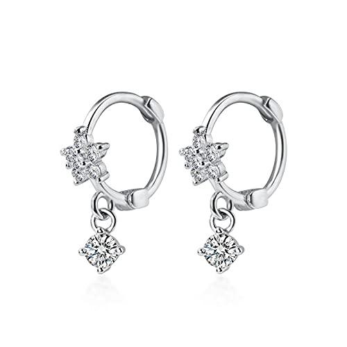 Pendiente de aro de flor en flor de circonita AAA deslumbrante de plata de ley 925 para mujer, joyería de compromiso de boda
