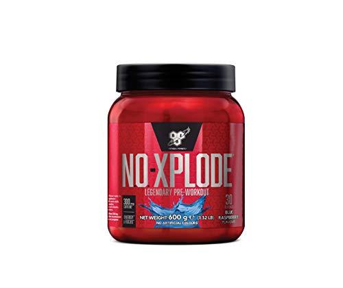 BSN N.O.-Xplode Pre Workout Booster, Energy Drink mit Creatin, Vitamin C, Vitamin D, Vitamin B Komplex, Arginin, Koffein und Beta Alanin, Blue Raspberry, 30 Portionen, 600g
