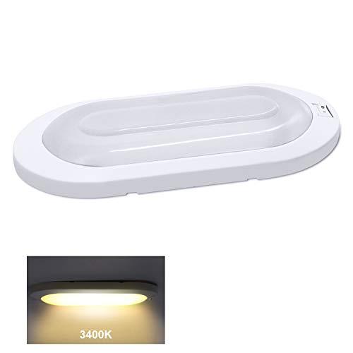 Facon 12V 6W LED Helle Pfannkuchen Deckenleuchte Innenbeleuchtung mit ON/Off-Schalter für Camper Wohnmobil Wohnwagen Anhänger Boot Marine und Fahrzeug