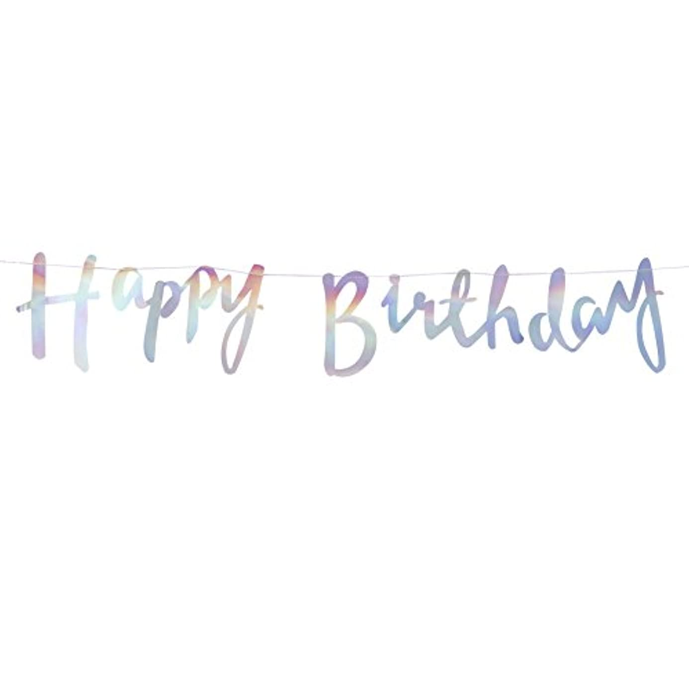 Ginger Ray Iridescent Holographic Rainbow Designer Happy Birthday Bunting Banner Decoration - Iridescent Party svs9010361